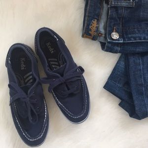 { Keds } lace up shoes in blue and white stitching